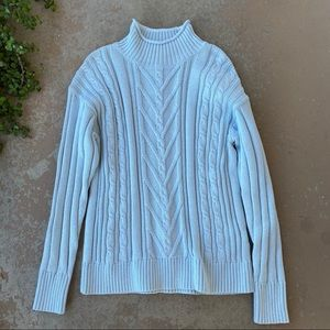 J Crew Blue Cropped Cable Turtleneck Sweater